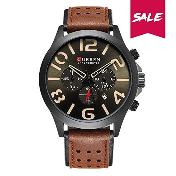 Curren Mens Watch Sports Black Watches Date Leather Wrist Band Watch Best Gift For Men 8244