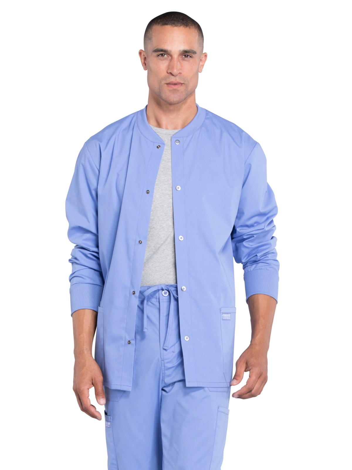 Cherokee Professionals Workwear Men's Snap Front Warm-Up Solid Scrub Jacket Large Ciel Blue