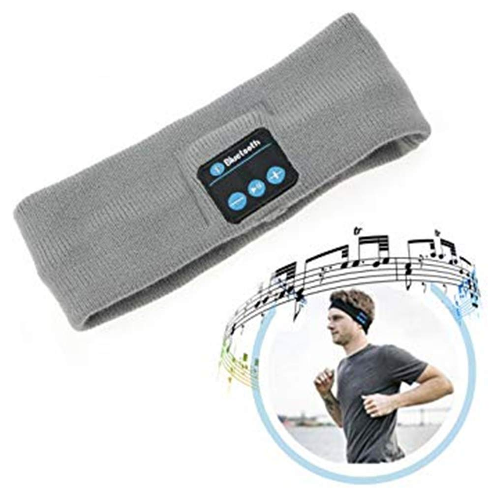 Wireless Bluetooth Headband, Wireless Yoga Sports Headband Sleep Headphones Headset Best Noise Cancelling Running Headphones with Mic Built-in Stereo Speakers Running Sports Bluetooth Headband, Grey BWAM