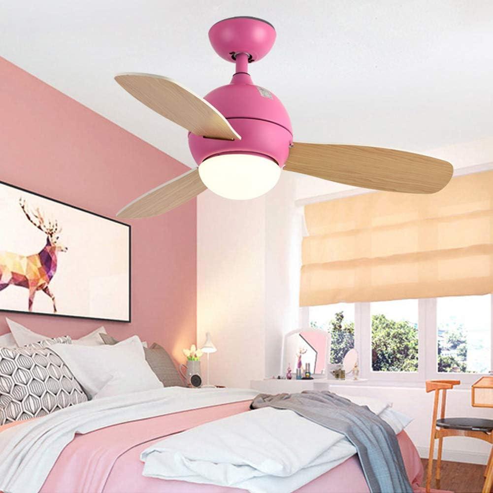 DBY Boy Ventilador de Techo con luz LED, Hoja de Ventilador de Madera, Motor Remoto Reversible sin Ruido Moderno, Regulable en 3 Colores, 220-240V,Pink,42in