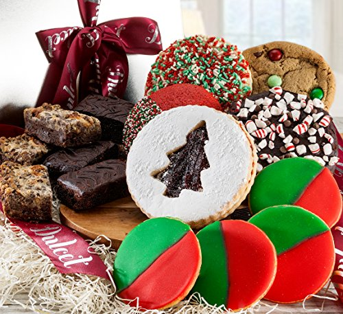 Gourmet Christmas Holidays Gift Basket Idea Filled with Cookies and Brownies. (Cookie Gift Baskets Ideas)