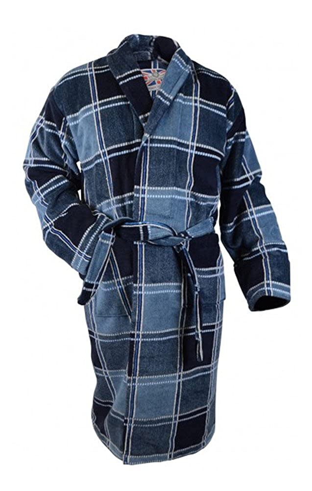 Bown of London Mens Luxury Velour Dressing Gown Blue Check Eygptian Cotton