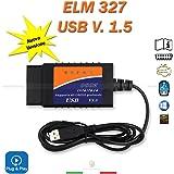 Mini ELM327OBD216broches version 1,5A Interface de scanner et diagnostic de voiture avec câble USB
