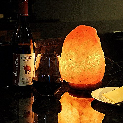 Himalayan Salt Lamp, HIPPIH Salt Rock Lamp, Natural Shape Hand Carved Salt Crystal Lamp with Wooden Base, Includes 15 Watt Blub and Rotary Dimmer Switch, Amber Night Light - 7 to 9 Inch by HIPPIH