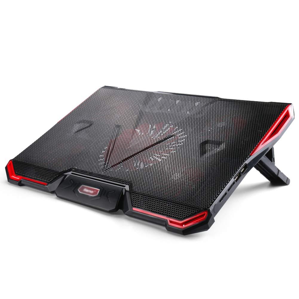 Ho,ney Laptop Cooler - Foldable Portable 7-Position Angle Adjustment Five Fan Cooling, Dual USB Bass Design (red Black) -1053 Notebook Cooler