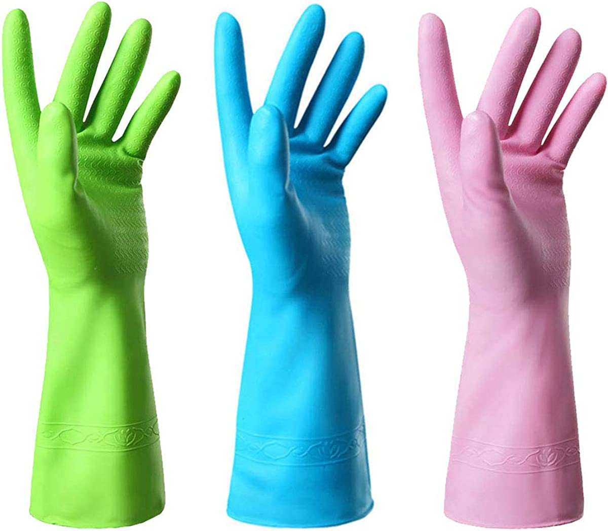 Mulfei Cleaning Gloves-Tear Proof Rubber Gloves-3 Pairs Kitchen Gloves Including Pink, Purple and Green (Large-Pink+Blue+Green)