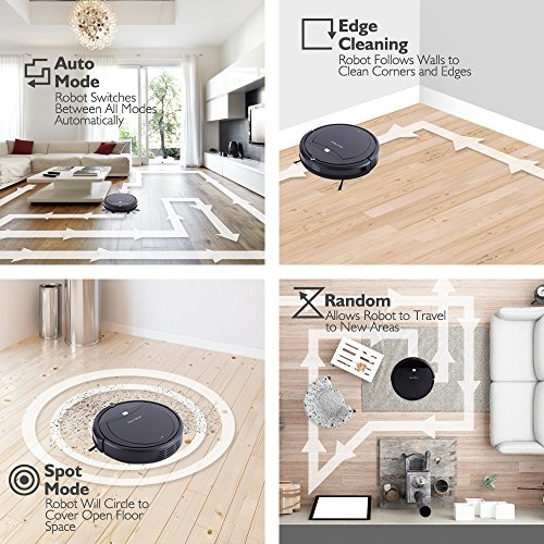 PureClean Robot Vacuum Cleaner with Programmable Scheduled Activation & Automatic Charge Dock - Robotic Auto Home Cleaning for Clean Carpet Hardwood Floor, HEPA Pet Hair & Allergies Friendly - PUCRC99 by PureClean (Image #4)