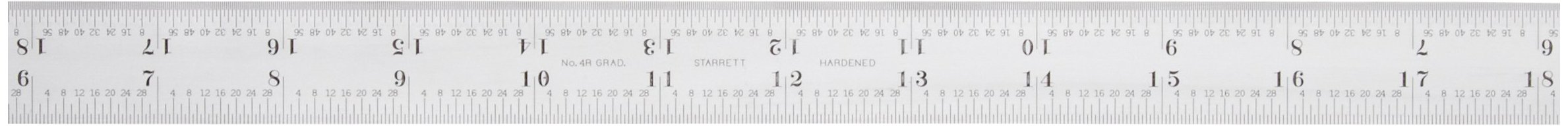 Starrett CB24-4R Combination Square Blade With Inch Graduations, Sets And Bevel Protractors, Satin Chrome Finish, 6R Graduation, 1'' Width, 3/32'' Thickness, 24'' Size