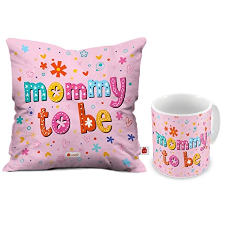 Buy Indigifts Mommy To Be Coffee Mug And Cushion Cover With Filler 12x12 Pin Satin