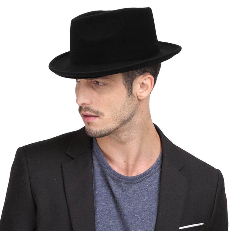KKONION Wool Mens Black Dad Coiling Brim Fedora Hat for Gentleman Woolen Wide Brim Jazz Church Cap