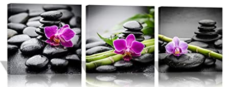 Purple Verbena Art Canvas Painting Wall Decor SPA Stone Green Bamboo Purple Flower Pictures Prints Paintings, 3 Panels Modern Zen Giclee Walls Artwor Kitchenk for Home Office Decor, Framed 40x40cm