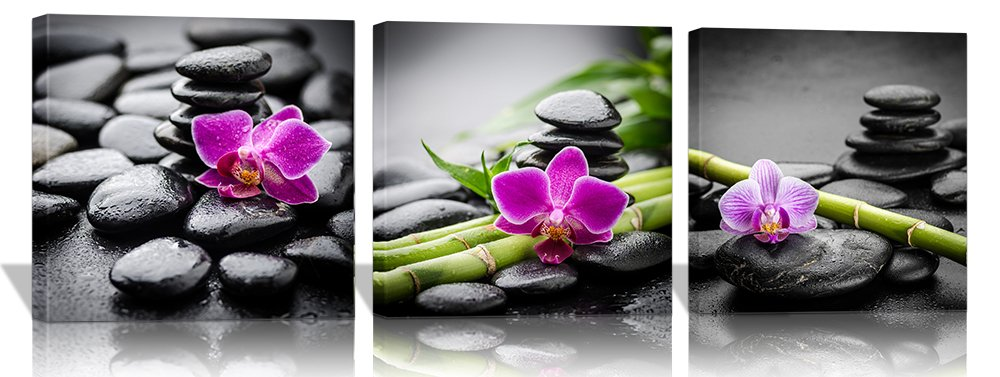 Purple Verbena Art Canvas Painting Wall Decor SPA Stone Green Bamboo Purple Flower Pictures Prints Paintings, 3 Panels Modern Zen Giclee Walls Artwor Kitchenk for Home Office Decor, Framed (40x40cm)