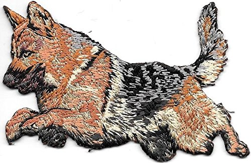 2 1/8'' x 4'' Jumping German Shepherd Dog Breed Embroidered Patch
