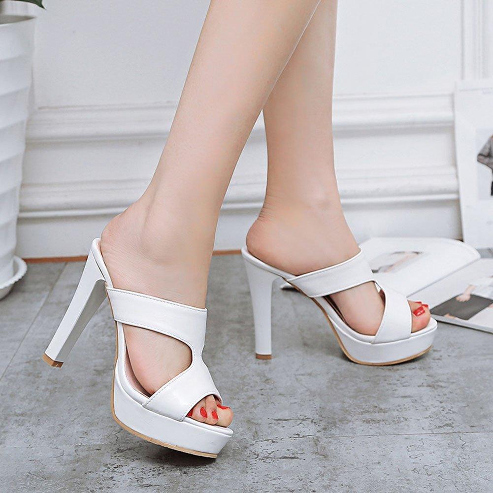 XDGG Frauen Rough Zehe High Heel Sandaletten Flip Flop Hohl Offene Zehe Rough Wasserdichte Plattform Größe Code Sommerkleid Weiß 49ff0a