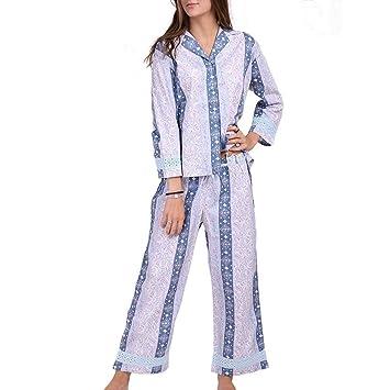DUKUNKUN Traje De Pijama Mujer Ropa De Dormir De Algodón Suave Y Casual Mujer Ropa De
