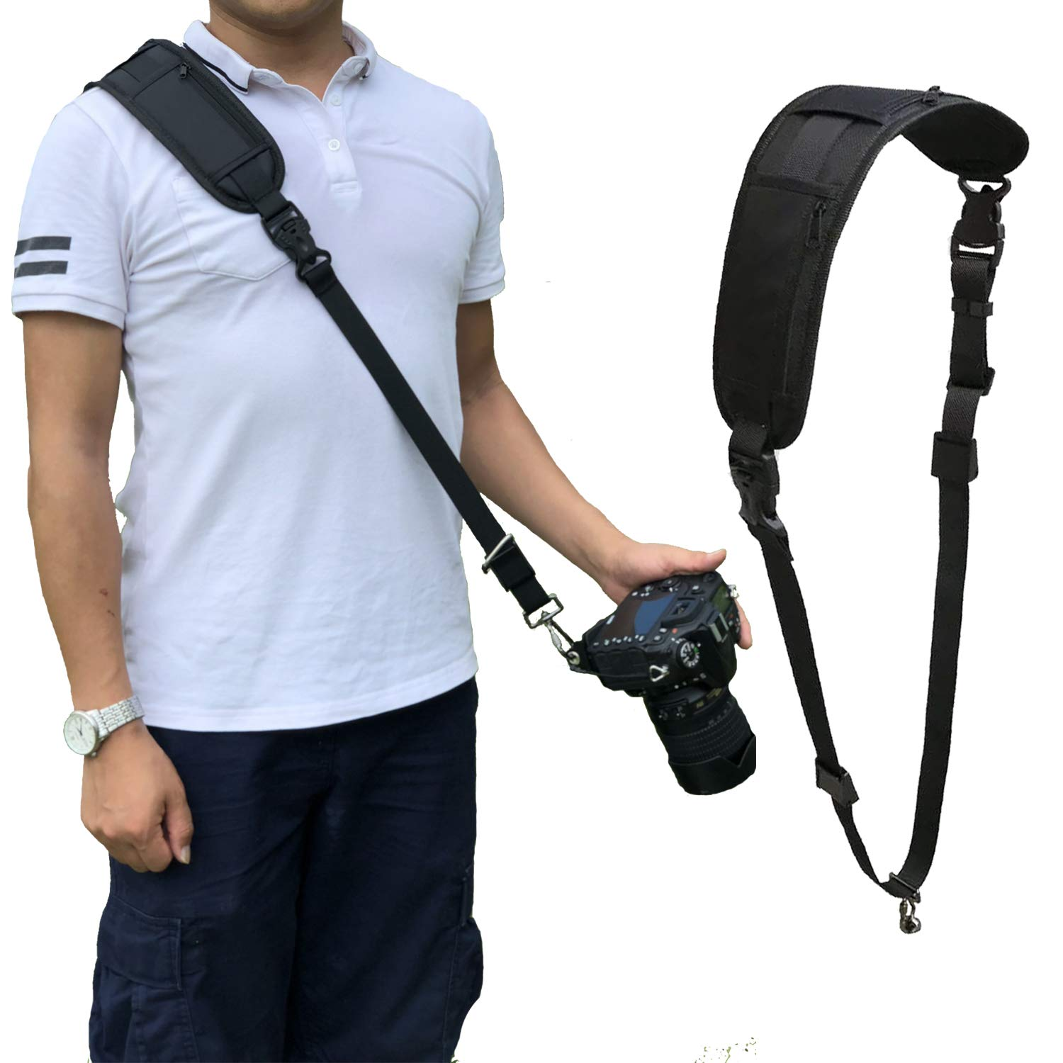 Bwealthest Camera Strap, DSLR Camera Neck Shoulder Strap —— Soft Neoprene Camera Sling Strap with Quick Release Safety Tether Adjustable Strap for Canon, Fujifilm, Nikon, Panasonic, Sony and More DSLR by Bwealthest