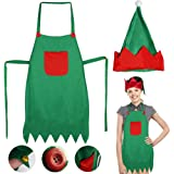 LoveInUSA Elf Apron Christmas Elves Apron Santa Elf Hats for Adult April Fool's Day Father's Day Birthday Gifts