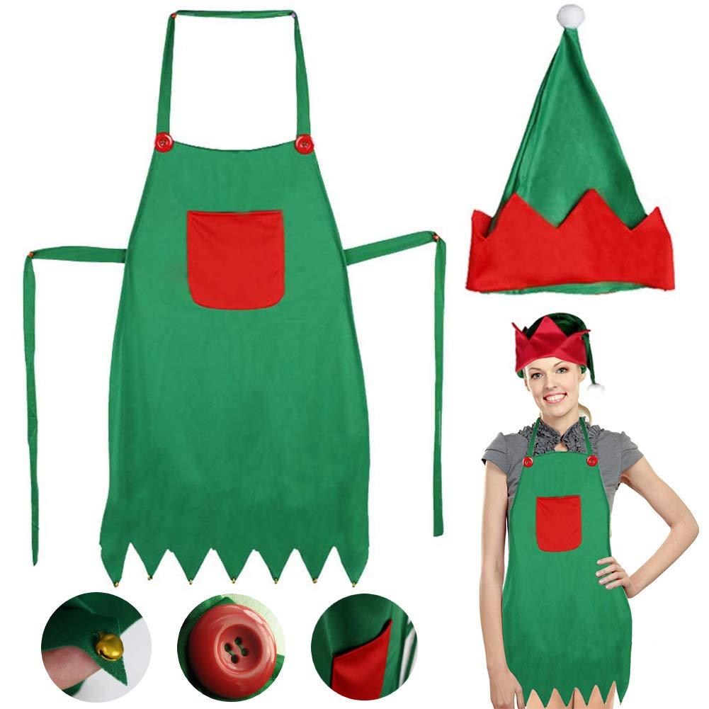 LoveInUSA Elf Apron Christmas Elves Apron Santa Elf Hats for Adult April Fools Day Gifts