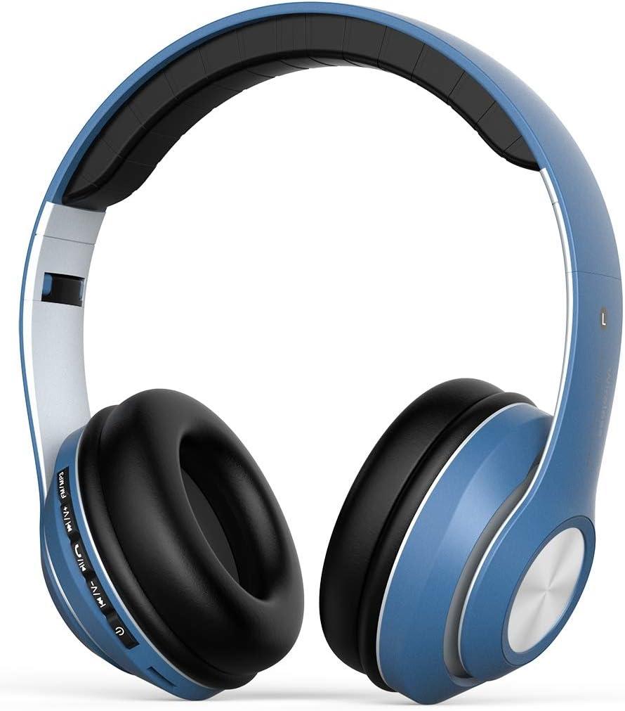 Auriculares Bluetooth Inalambricos con Micrófono, Over-Ear Auriculares de Diadema Plegable,Hi-Fi Bass Estéreo, Manos Libres, PC, Móviles,Android-Azul