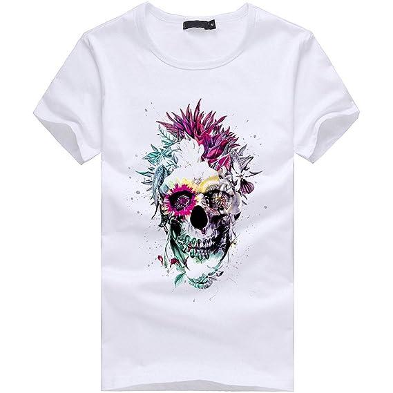 SALLYDREAM Hombres Camiseta Tallas Grandes Cráneo Manga Corta Algodón yDw1Z