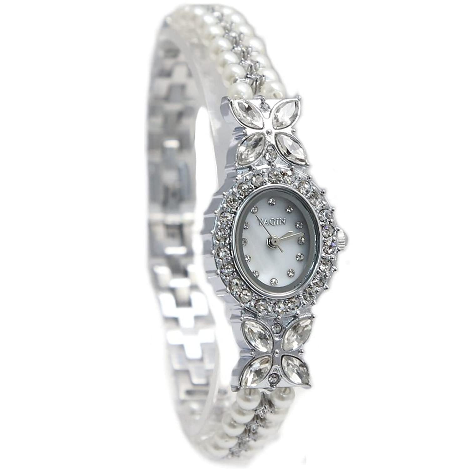 New Of Good Taste White Dial Ladies Women Imitated Pearl Elegant Bracelet Watch