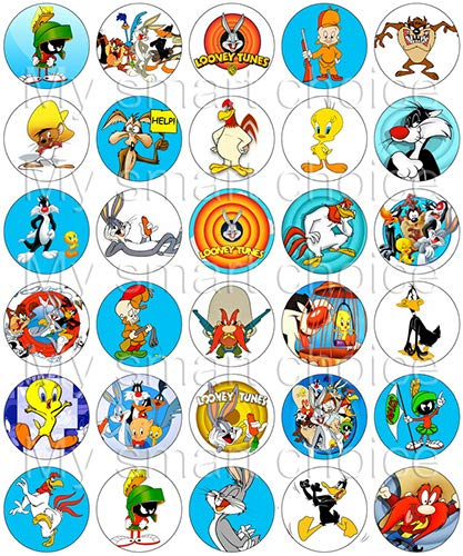 30 x Edible Cupcake Toppers – Looney Tunes Themed Collection of Edible Cake Decorations | Uncut Edible Prints on Wafer Sheet