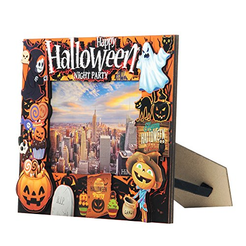 Halloween Pictures Decorations (Standing Photo Frame - Wood Picture Frame Home Decoration Photo Display Holds One 5.9