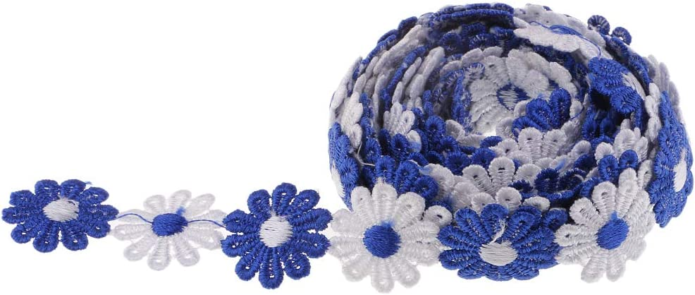 3 Styles to Choose Blue 3 Yard 25mm Daisy Sun Flower Decorating Lace Trims Ribbon Embroidered Applique Patches for Sewing and Art Craft Projects