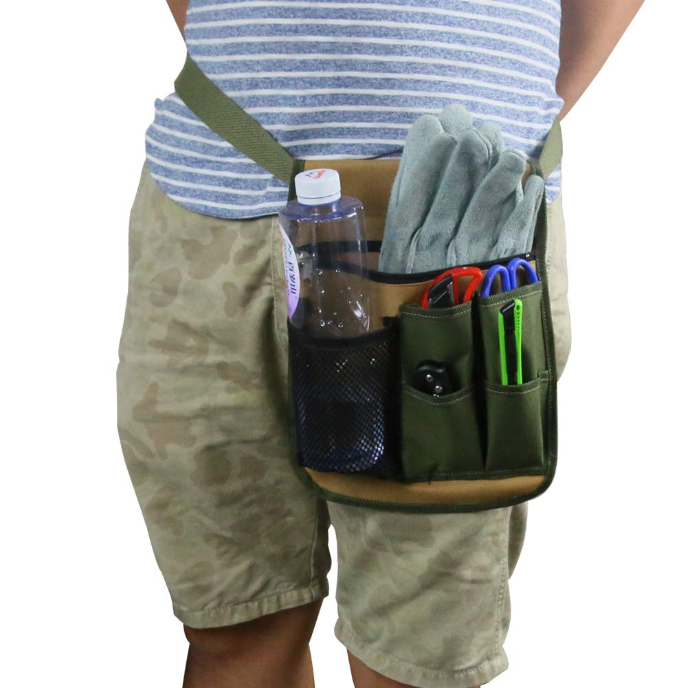 QEES Garden Tool Apron Gardening Tool Belt with Water Bottle Holder, Adjustable Utility Tool Pouch with Belt for Men/Women for Home, Garden, RV, Cleaning WQ47