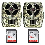Primos 16MP Proof Gen 2 Blackout Truth Camo Trail Camera & Sandisk Ultra SDHC 16GB 80MB/S Class 10 Flash Memory Card (2-Pack)