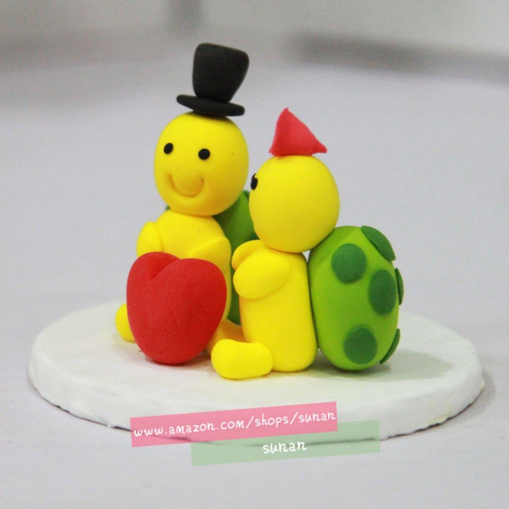 Amazon.com: Wedding cake topper Turtle wedding clay doll,animal ...