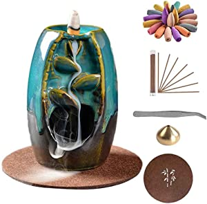 HEJIA Ceramic Backflow Incense Burner Waterfall Incense Holder with 50 Backflow Incense Cones 50 Incense Stick and Cushion Tweezers for Home Office Yoga, Small