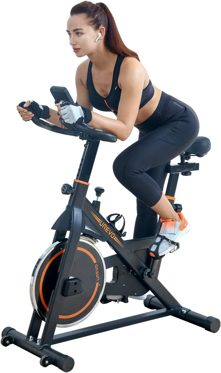 UREVO Indoor Exercise Cycling Bike Stationary Cycle Bike with Comfortable Seat Cushion and Floor Mat
