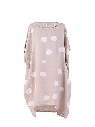 8322ec0c327 LushStyleUK New Ladies Italian Polka Dot Linen Baggy Top Women Lagenlook  Top Plus Sizes (Beige)  Amazon.co.uk  Clothing