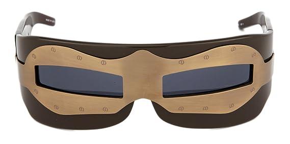 1cb90ca333 Amazon.com  LINDA FARROW KTZ SUIT OF ARMOUR Brown Bronze Wrap Sunglasses   Clothing