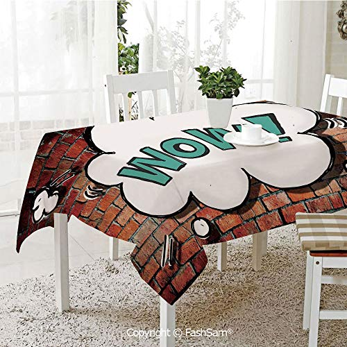 AmaUncle 3D Dinner Print Tablecloths Red Cracked Brick Wall British Backdrop UK English Pop Art Cloud 90S Grunge Table Protectors for Family Dinners (W55 xL72)]()