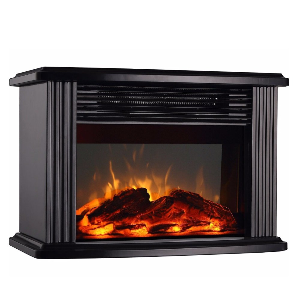 DONYER POWER 14'' Mini Electric Fireplace Tabletop Portable Heater, 1500W, Black Metal Frame,Room Heater,Space Heater