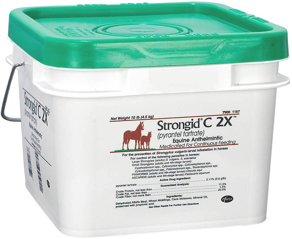 Strongid Zoetis C 2X 80 Day Supply Medicated Daily Dewormer Pellets Horse Safe 4 Pregnant Mares 10 lbs by Strongid