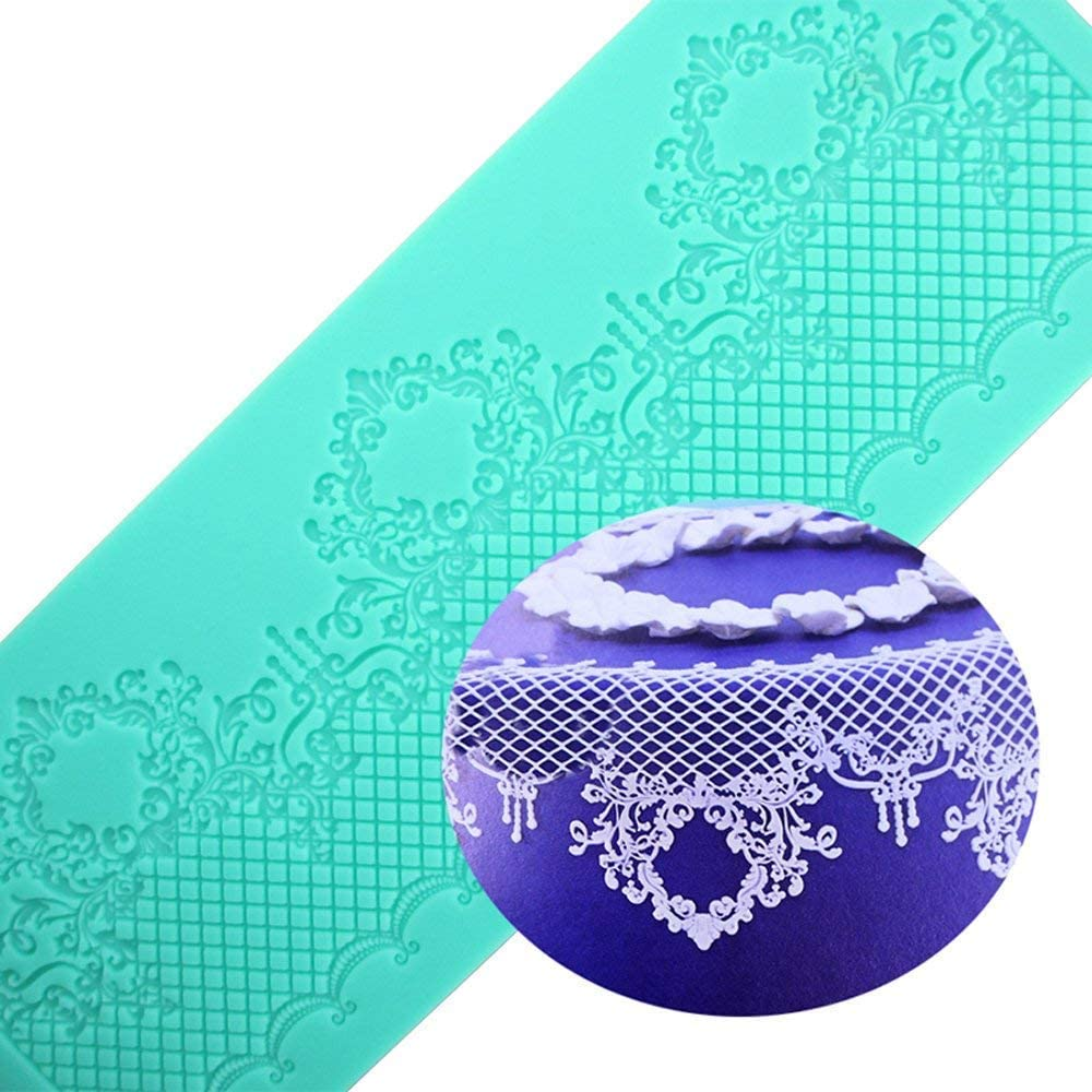Anyana sugar edible wedding heart Novelty Alcazar lace cake silicone Embossing Mat Texture fondant impression lace mat decorating mold gum paste cupcake topper icing candy imprint baking moulds craft