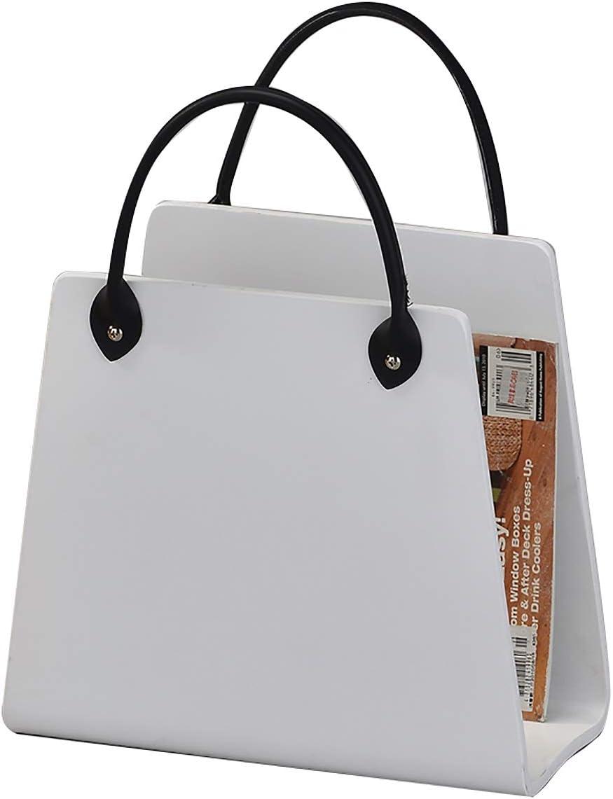 Blanc Meubletmoi Porte-revues en Bois de qualit/é Forme Sac /à Main avec Anse Aspect Cuir revues Collection Look Id/éal Magazines Livres