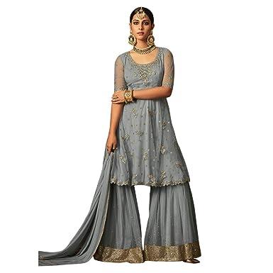 d5e663ed4c Likeadiva Women's Powder Net Floral Embroidered Sharara Suit (Maisha-5806,  Blue, Free