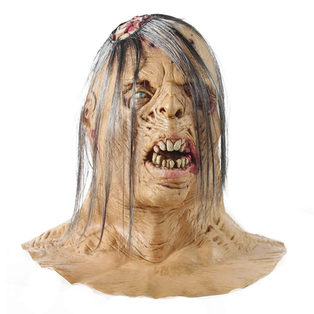 Realistic Scary Halloween Masks.Amazon Com Stheanoo Scary Halloween Mask Toothy With White Hair