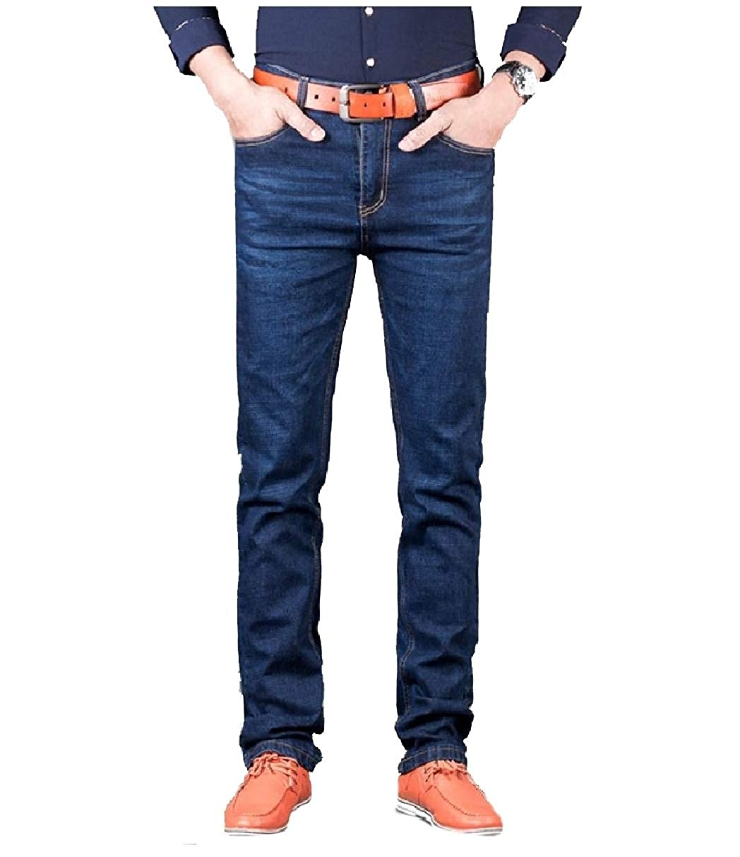 Coolred-Men Washed Straight-Fit Fall Winter Denim Pants Slimming Jeans