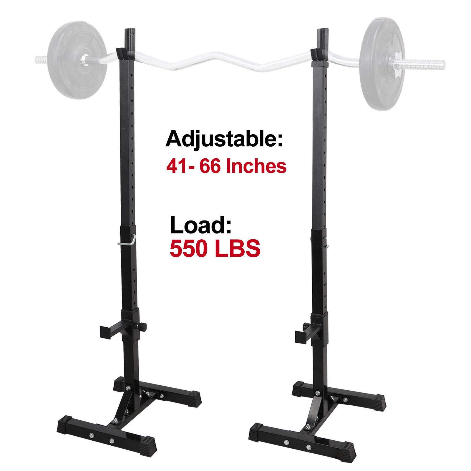 Mandycng Sturdy Free-Weight Barbell Holder Rest Rack Adjustable Rack Standard Steel Squat Stands Barbell Free Press Bench Set of 2pcs