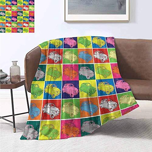 (Decorative Throw Blanket Cars Pop Art Style Italian Cars Blanket Comfort Microfiber W60 xL91 Traveling,Hiking,Camping,Full Queen,TV,Cabin)