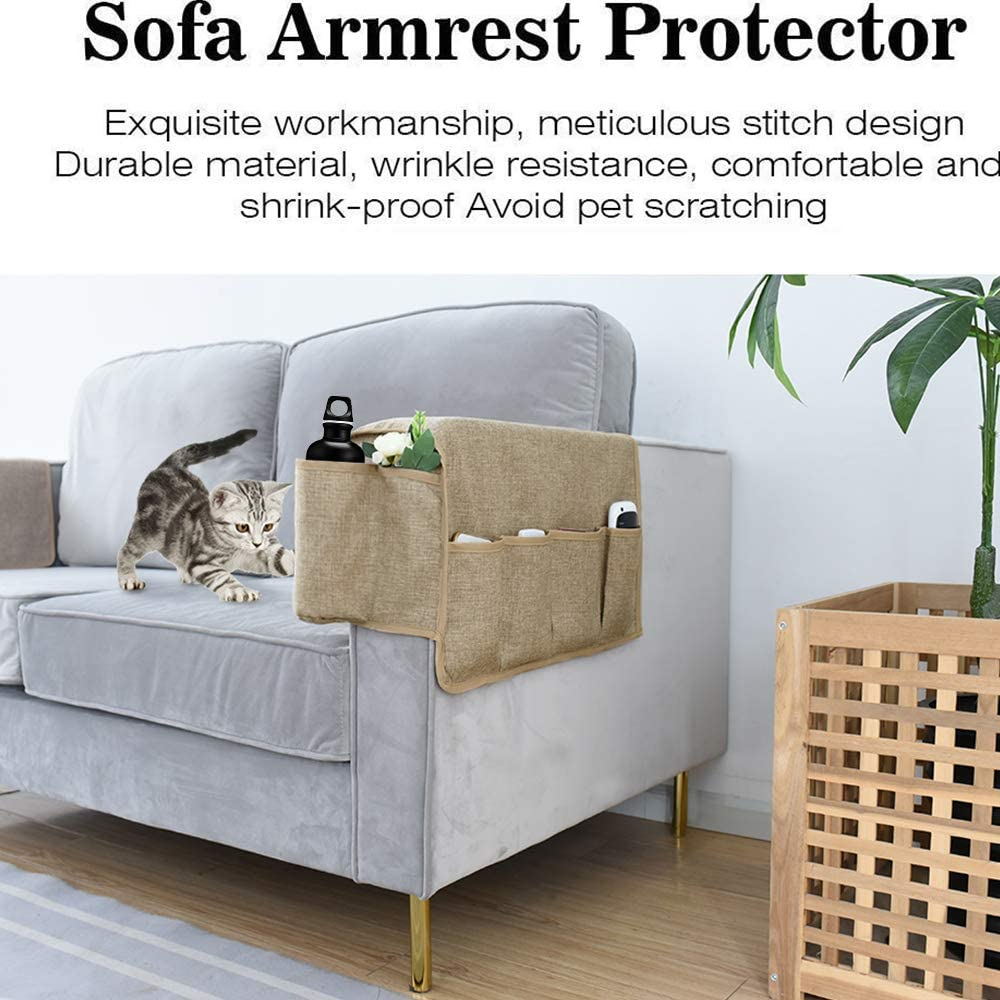 Cat Armchair Caddy /& Organizer for Remote Control Super Durable Recliner Arm Protector for Dog Phone Pets Set of 2 Joywell Anti-Slip Armrest Covers with 6 Pockets for Sofa Couch Black