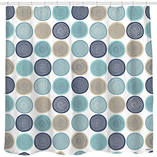 Sunlit Abstract Tree Rings Pattern Woody Artistic Fabric Shower Curtain. Nature Pale Blue Teal Beige Light Brown. with 12 Hooks