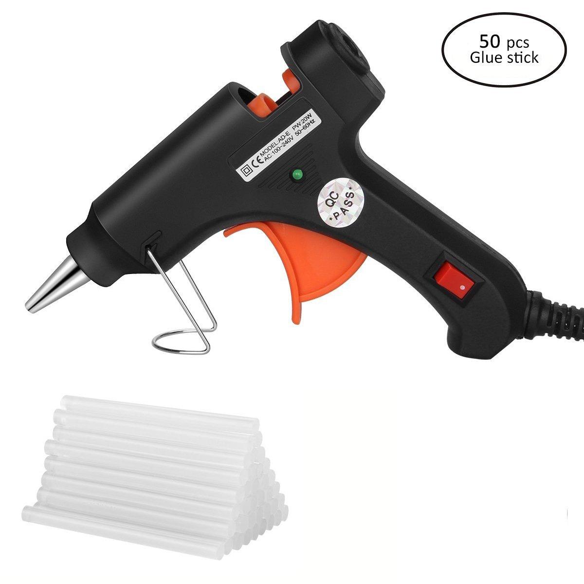 Hltd Hot Glue Gun,20 Watt High Temperature Hot Melt Glue Gun with 50pcs Glue Sticks Flexible Trigger for DIY Arts,Craft Projects &Sealing Finger Caps(Black)