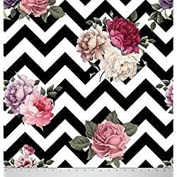 Soimoi 58 Inches Wide Chevron Floral Printed 60 GSM Cotton Fabric Supply By The Yard - Black and White