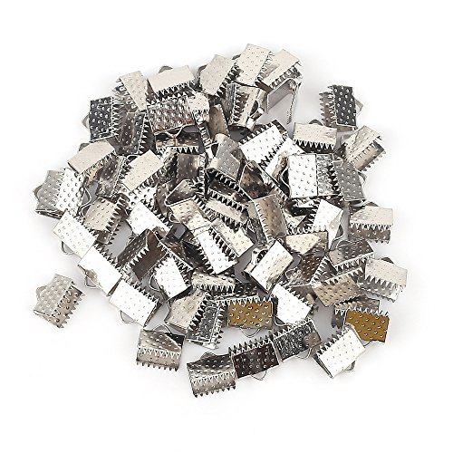 (200PCS Silver Plated Ribbon Ends Fastener Clasps Textured Crimp End Clamps Cord Ends 8mm )